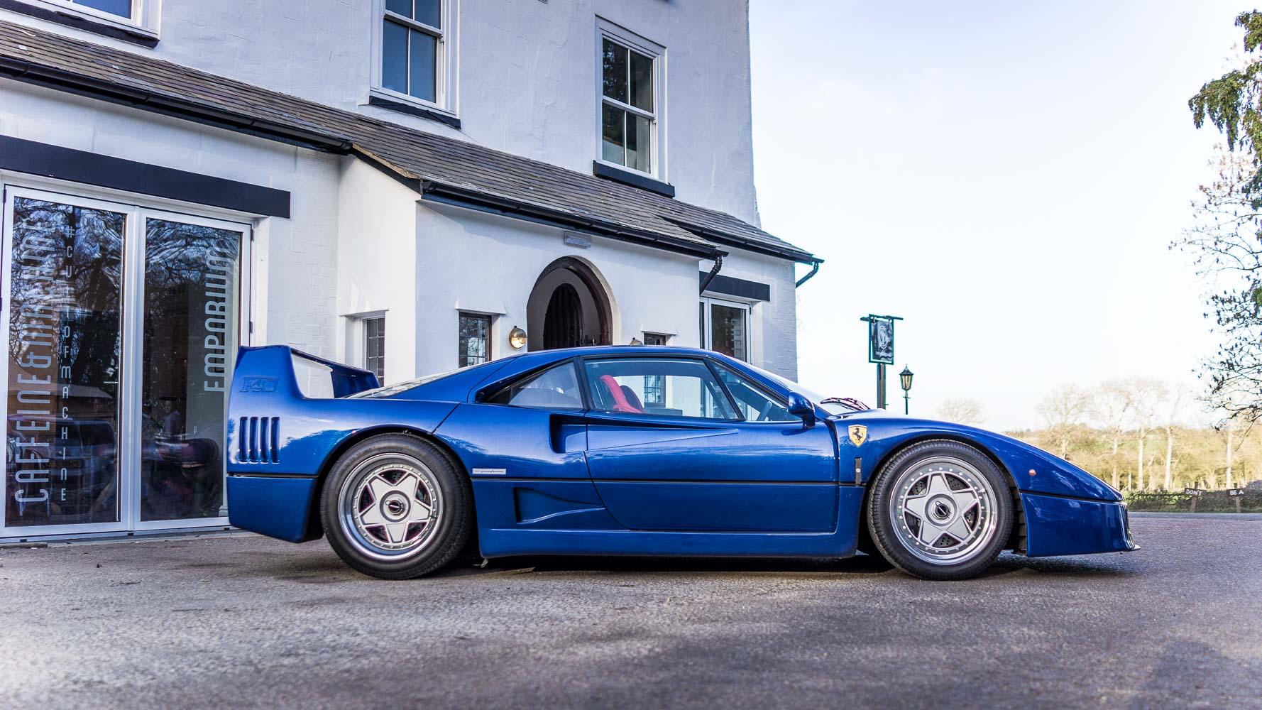 A spotlight on. Ferrari F40